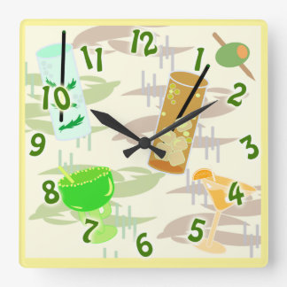 It's Cocktail Hour Square Wall Clock