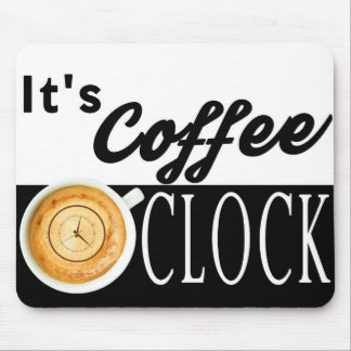 it's coffee o'clock text clock cup hipster message mouse pad