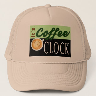 it's coffee o'clock text clock cup hipster message trucker hat