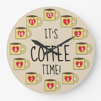 Cute Coffee Mugs Design Large Clock