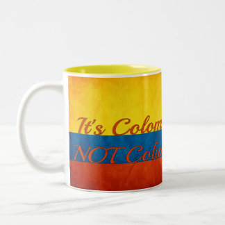 """""""It's Colombia, Not Columbia"""" Two-Tone Coffee Mug"""