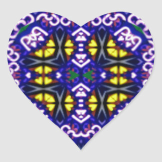 Its Complicated Purple Yellow Symetrical Pattern Heart Sticker