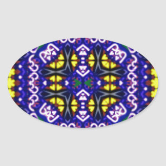 Its Complicated Purple Yellow Symetrical Pattern Oval Sticker