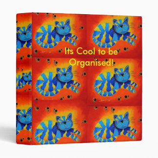 It's Cool To Be Organised! -Smiley Smug Red Cat 3 Ring Binder