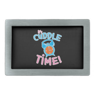 It's cuddle time with cute clock rectangular belt buckle