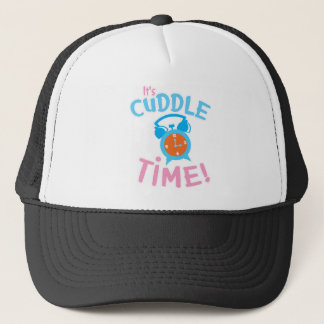 It's cuddle time with cute clock trucker hat