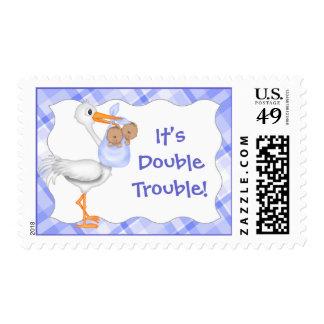 It's Double Trouble! Twins (darker skin) Postage
