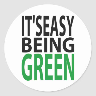 IT'S EASY BEING GREEN CLASSIC ROUND STICKER