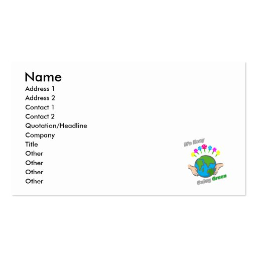 It's Easy Going Green Flowery Globe Business Cards