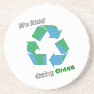 It's Easy Going Green Recycle Symbol coaster