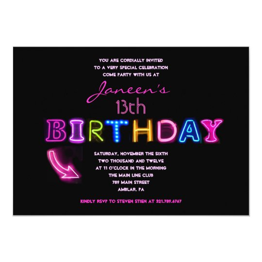 IT'S ELECTRIC! 13th Birthday Party Invite