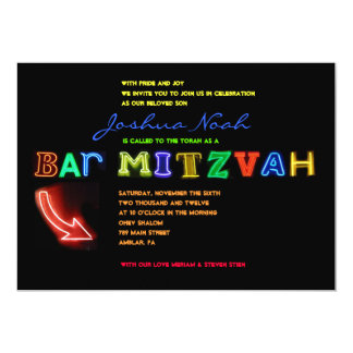 IT'S ELECTRIC!  NEON SIGN Bar Mitzvah Invitation