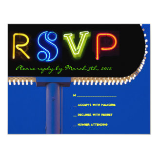 IT'S ELECTRIC!  NEON SIGN Bar Mitzvah Reply Card Announcements