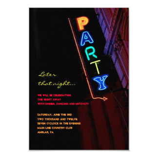 IT'S ELECTRIC!  NEON SIGN Bar Mitzvah Reply Card Personalized Invitation