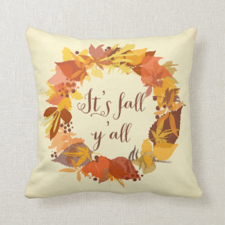 It's Fall Y'all Autumn Leaves Wreath Pillow