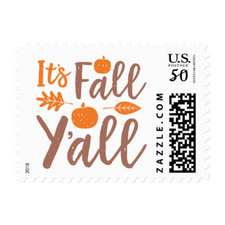 It's Fall Y'all Autumn Pumpkin Postage Stamps