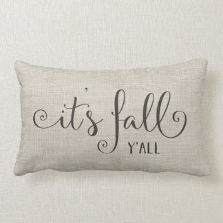 it's fall y'all burlap typography lumbar pillow
