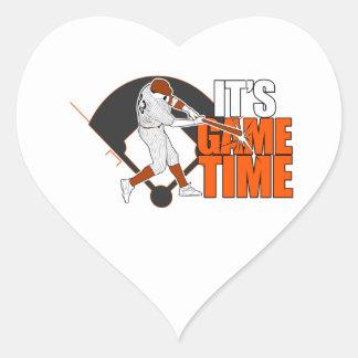 It's Game Time - Baseball (Orange) Heart Stickers