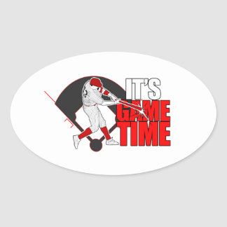 It's Game Time - Baseball (Red) Oval Sticker