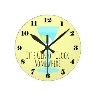 It's Gin o'Clock Somewhere - bar or kitchen Round Clock