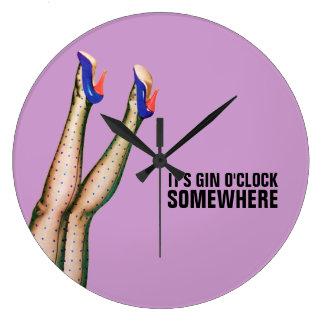 It's Gin O'Clock Somewhere Retro Wall Clock