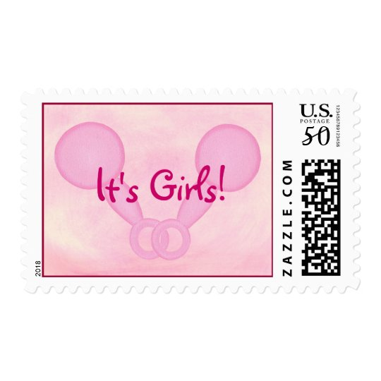 It's Girls! Pink Baby rattles, postage stamps