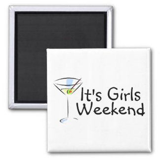 Its Girls Weekend Martini 2 Inch Square Magnet