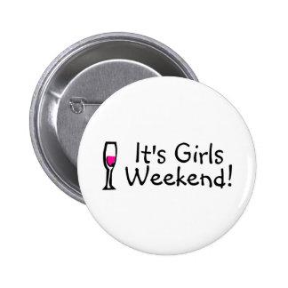 Its Girls Weekend Wine Pinback Button