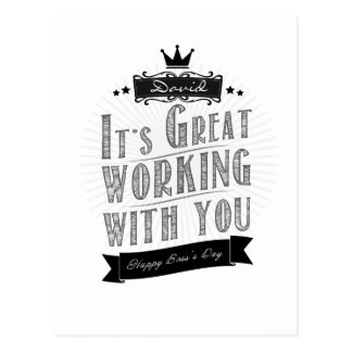 It's Great working with you, Happy Boss's Day Postcard