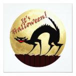 "It's Halloween!!  Black Cat w/Full Moon 5.25"" Square Invitation Card"
