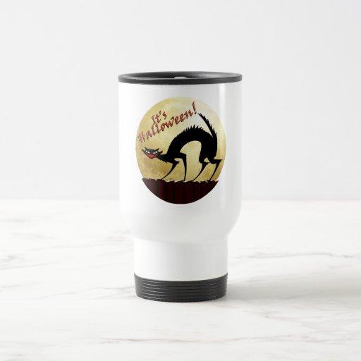 It's Halloween!!  Black Cat w/Full Moon Coffee Mugs