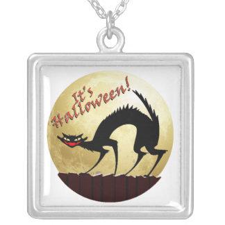 It's Halloween!!  Black Cat w/Full Moon Custom Necklace