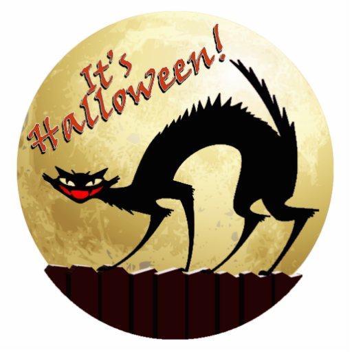 It's Halloween!!  Black Cat w/Full Moon Photo Cutouts