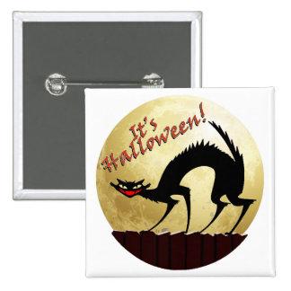 It's Halloween!!  Black Cat w/Full Moon Pins