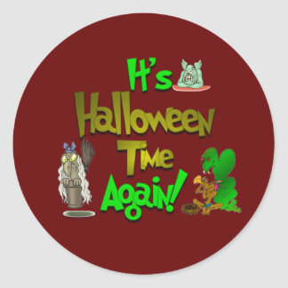 It's Halloween Time.:-) Classic Round Sticker