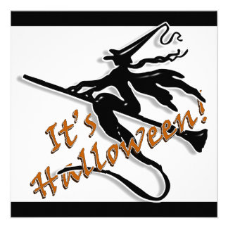 It's Halloween Witchy Silhouette Custom Invitations