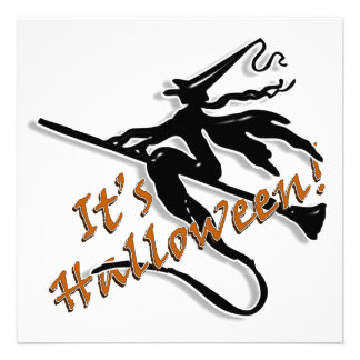 It's Halloween Witchy Silhouette Personalized Announcement