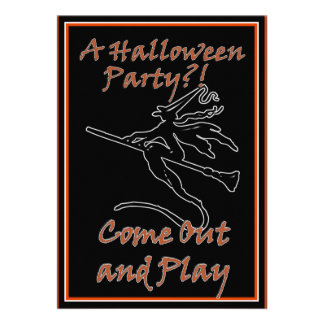 It's Halloween Witchy Silhouette Personalized Announcements