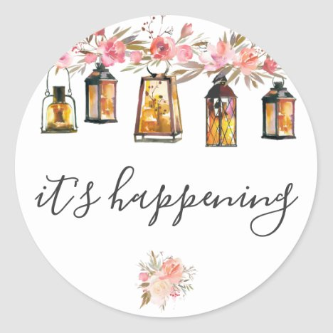 It's Happening Rustic Lanterns Rose Gold Wedding Classic Round Sticker