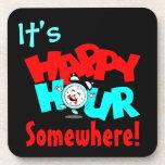 It's Happy Hour Clock Fun Bar Drink Tavern Coaster