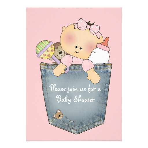 It's in the Pocket - Pink Baby Shower Invitation