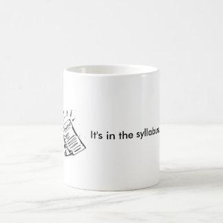 It's in the syllabus. coffee mug