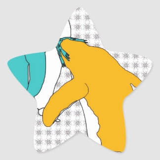 It's Just Teal and Yellow Star Sticker