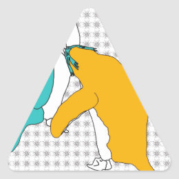 It's Just Teal and Yellow Triangle Sticker