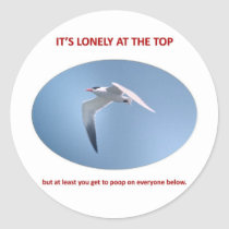 its-lonely-at-the-top-but-at-least-you-get-to-poop classic round sticker