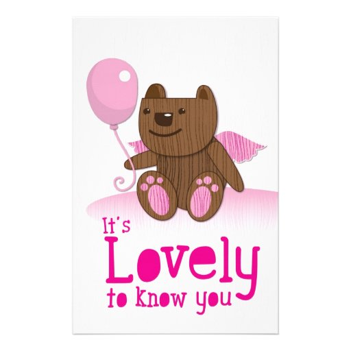 It's lovely to know you! with bear balloon personalized stationery
