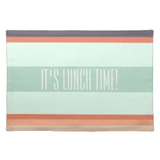 It's lunch time, green & orange lines placemat | mantel