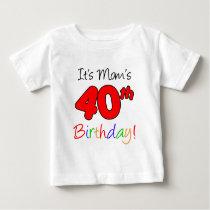 It's Mom's 40th Birthday Baby T-Shirt