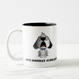 'It's Monday already' Fluff Dog two tone black mug