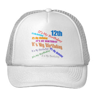 It's My 12th Birthday Gifts Trucker Hat